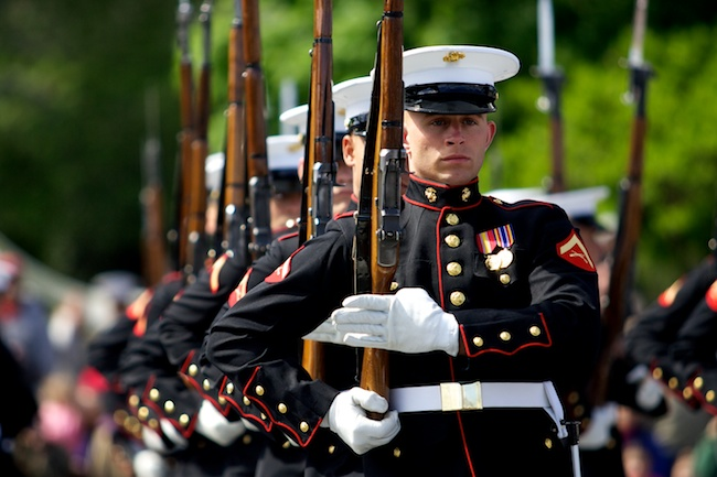 5.9.2010 — BOSTON — Lance Cpl. John Nelson, of Amesbury, performs during the Marine Corps Silent Drill Platoon's demonstration at the closing ceremony for Marine Week at the Charlestown Navy Yard on May 9, 2010.