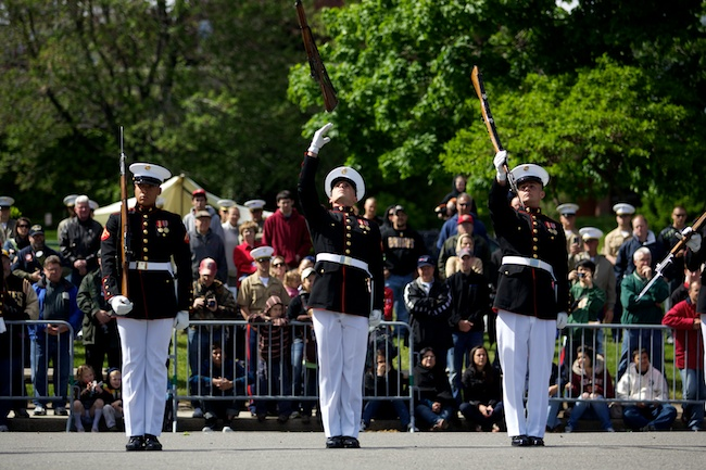5.9.2010 — BOSTON — Members of the Marine Corps Silent Drill Platoon perform a demonstration at the closing ceremony for Marine Week at the Charlestown Navy Yard on May 9, 2010.