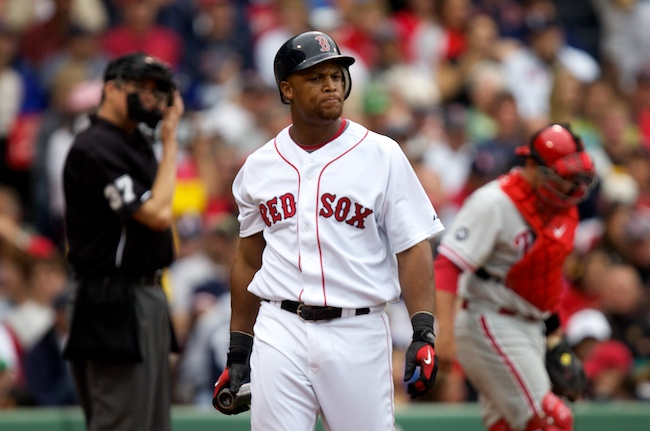 6.13.2010 —BOSTON — Red Sox third baseman Adrian Beltre pouts after striking out and stranding two men against the Phillies in the seventh inning on June 13, 2010.