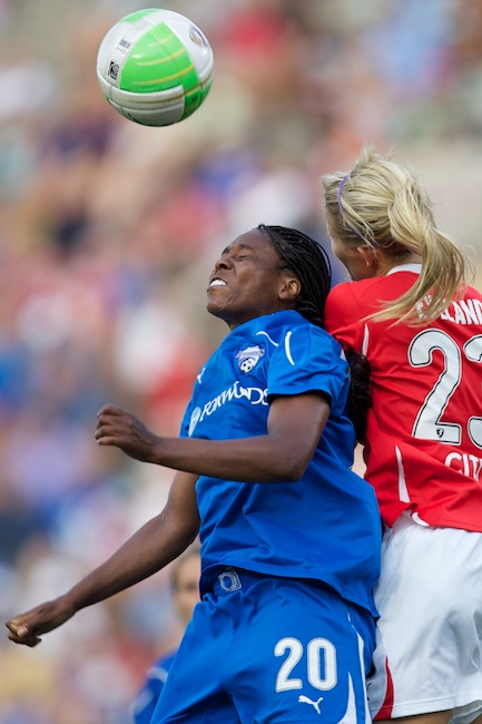 7.18.2010 — BOSTON — Boston Breakers defender Ifeoma Dieke wins a header against Washington's Kristi Eveland in Boston's 2-1 win on July 18, 2010.