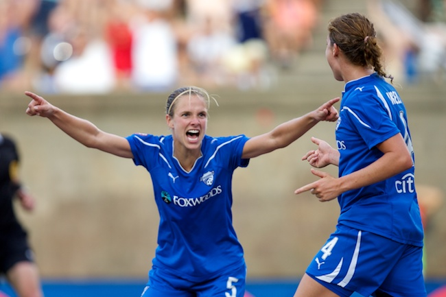 7.18.2010 — BOSTON — Boston Breakers midfielder Lindsay Tarpley congratulates midfielder Jordan Angeli on her game-winning goal against Washington in their 2-1 win on July 18, 2010. Angeli scored off Tarpley's deflected header attempt.